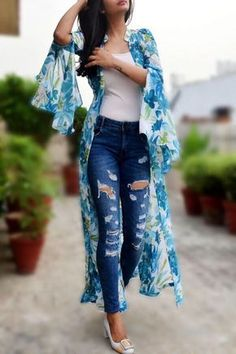 Buy this white printed long shrug by colorauction from www. Kimono Fashion, Fashion Wear, Look Fashion, Indian Fashion, Fashion Dresses, Stylish Dresses, Stylish Outfits, Cute Outfits, Summer Outfits