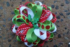 Christmas Hair Bow Loopy Flower Hair Bow with by MyLuckyHairBow