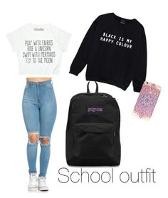 """""""school outfit❤"""" by julianacontreras ❤ liked on Polyvore featuring Minga and JanSport"""