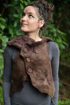 Felt Melted Woodland Forest Nymph High Collar Double Front Closure Vest Top OOAK