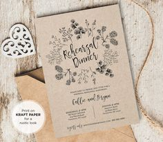 Printable Wedding Rehearsal Dinner Invitation by MintyPaperieShop