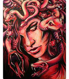 Medusa - Acrylic Painting on canvas. Medusa Drawing, Medusa Art, Medusa Gorgon, Medusa Painting, Tattoo L, Medusa Tattoo, Henne Tattoo, Arte Horror, Artist Portfolio