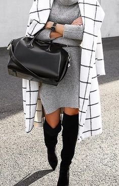 A Sweater Dress, Blazer, and Over-the-Knee Boots