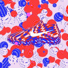 Made by Karan: Karan Singh, Artist and Illustrator. Nike Air Vapor Max. I worked with Nike to create visuals to accompany the release of their long awaited and highly anticipated new sneaker. The visuals included an animation featuring the sneaker as well as type treatments which were used for launch events and in store across Europe. illustration, art, design, pattern, spots, stripes, shapes, geometric, nike, vapor max