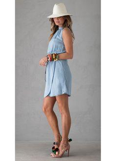 Denim Kjole D70282 Ladies Dress 185 light blue