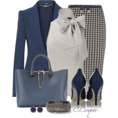 7 stylish work outfits for the office - Page 6 of 7 - women-outfits.com Navy & Grey stylish work outfit.