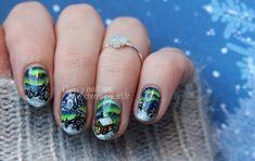 nail art nouvel an noël aurore boreale one stroke