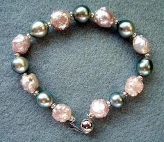 Silver Charcoal Tahitian Pearls And Large Candy Pink Rosebud Pearls Bracelet