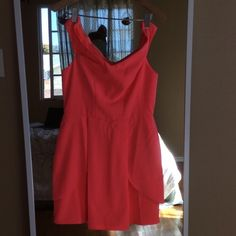 Coral chiffon dress Worn only once, bright coral adelyn rae dress from lulus Adelyn Rae Dresses