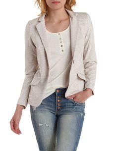 Heathered Long Sleeve Blazer by Charlotte Russe - Tan