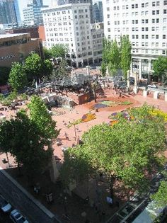 """Pioneer Courthouse Square; visitor center is here(?) and can book walking tours; """"Portland's living room"""""""