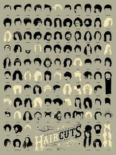 From the pompadour to the moptop to the metal mane to whatever it is Lady Gaga has atop her head, here is a history of popular music as told through the notable haircuts on this signed, limited edition print.