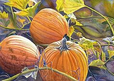 """Harvest Gold by Cathy Hillegas Watercolor ~ 15"""" x 22"""""""