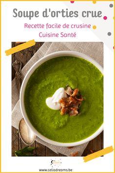 """Découvrez les nombreuses #vertus de l'ortie et apprenez à réaliser une délicieuse soupe crue (raw). Une recette facile et rapide d'entrée à faire surtout au printemps avec les jeunes pousses. Remnéralisant et détoxifiant, c'est un excellent potage """"santé"""" de crusine. Avec très peu d'ingrédients, pas cher et hyper facile à réaliser.Vidéo et conseils pour bien la réussir. #soupe #ortie #crue #rawfood #printemps #recette Girl Cooking, Palak Paneer, Guacamole, Ethnic Recipes, Blog, Coin, French Girls, Permaculture, Cooking Ideas"""