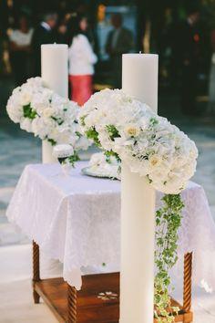 Romantic Seaside Wedding in Greece Wedding Flower Arrangements, Wedding Bouquets, Wedding Flowers, Seaside Wedding, Irish Wedding, Altar, Wine Bottle Centerpieces, Orthodox Wedding, Flowers