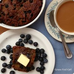 Grain Free, Dairy Free Banana Blueberry Coffee Cake - Grass Fed Girl