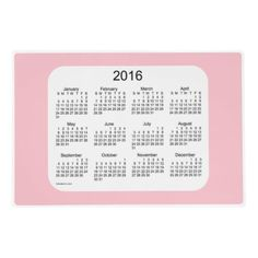 2016 Pink Laminated Calendar by Janz Laminated Place Mat
