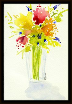 Original watercolor painting- spring floral by Sue Grilli -  WOW, the COLORS !!!
