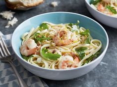 Linguine with Shrimp and Lemon Oil : By using frozen shrimp, you can whip up this dish in no time. It's bursting with lemon favor, from both lemon juice and zest, and an infused lemon oil.