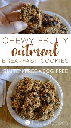 Try these gluten-free, vegan Chewy Fruity Oatmeal Breakfast Cookies for a quick, easy, and kid-friendly breakfast treat.