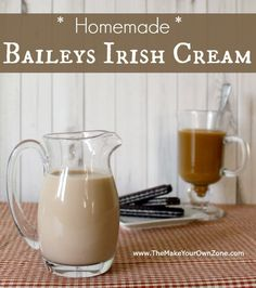 make your own homemade Baileys Irish Cream 1 teaspoon Instant Coffee (dissolved in 2 Tbl Water) 1 cup Half & Half 1 cup Whiskey 1 can Sweetened Condensed Milk oz) 2 tablespoon Chocolate Syrup 2 teaspoons Vanilla Homemade Baileys, Homemade Irish Cream, Baileys Irish Cream, Homemade Alcohol, Homemade Liquor, Latte, Alcohol Drink Recipes, Coffee Creamer, Coffee Mix