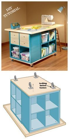 Ikea Kallax Cube Craft Table DIY Tutorial - DIY Magazine Hack the Ikea Kallax shelf to build a worktable with a huge surface for all crafters. Craft Table Ikea, Craft Tables With Storage, Craft Room Tables, Craft Desk, Diy Desk, Diy Table, Sewing Craft Table, Sewing Crafts, Crochet Crafts