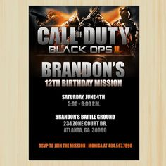 Call Of Duty Black Ops 3 Birthday Cake Frosting Edible Image