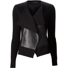 THAKOON leather panel cardigan ($1,080) ❤ liked on Polyvore featuring jackets, outerwear, cardigans, tops, blazers and thakoon