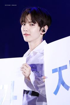 Baby looking fine as he does the fan project    EXOrDIUM dot in Seoul #Letsgotogether #Baekhyun