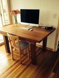 Rustic wood table: Native New Zealand Kauri and Rimu Upcycled table I made using old timber joists, studs and Lintels from turn of century villa we're renovating:)