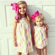 🎀🎀🎀🎀🎀. Love these little ladies in our milkshake dresses they got at @shophannahbs ! Thanks for sharing! #cutecustomers
