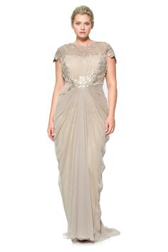 Tulle Draped Cap Sleeve Gown with Paillette Detail in Sand  By Tadashi Shoji $448