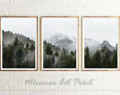Set of Forest Prints Forest 3 Piece Wall Fog Mountain Print Nordic Landscape Set of 3 Foggy Forest Poster Misty Trees Wall Art Green Nature Forest Landscape, Landscape Walls, Green Landscape, Mountain Landscape, Abstract Landscape, Landscape Paintings, Abstract Art, Car Art, Forest Poster