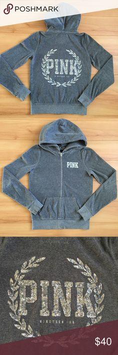 PINK Bling Velour Zip Up Bling Velour Zip Up. Like new PINK Victoria's Secret Tops Sweatshirts & Hoodies