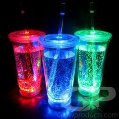 Light up drinking glasses and glowing bar products. Add glow to your party with a large variety of light up LED drink glasses and glowing barware supplies.