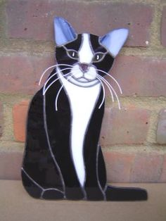 Front facing Seated Black and White Cat
