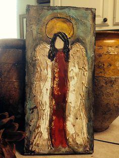 Original, Handmade, Textured Painting of Angel, Rustic Wall Art, Acrylic Angel… Christmas Angels, Christmas Art, Christmas Poinsettia, Crochet Christmas, Texture Painting, Painting & Drawing, Bd Art, Wine And Canvas, Rustic Wall Art