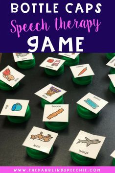 DIY speech therapy materials using bottle caps and free articulation word sheets. Speech therapy activities for the busy SLP. Preschool Speech Therapy, Speech Activities, Speech Language Pathology, Speech Therapy Activities, Speech And Language, Preschool Articulation Activities, Preschool Songs, Language Activities, Group Activities