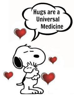 Hugs are the Universal Medicine - Snoopy and Woodstock Charlie Brown Und Snoopy, Meu Amigo Charlie Brown, Images Snoopy, Snoopy Pictures, Funny Pictures, Peanuts Cartoon, Peanuts Snoopy, Snoopy Hug, Snoopy Cartoon