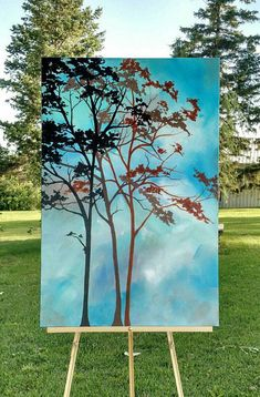 Tree Painting Abstract Painting Modern Painting Original Painting on Canvas Stretched Canvas Art Large Blue Painting Vertical Ready to Ship Fine Art Amerika, Art Blue, Blue Painting, Large Painting, Tree Art, Painting Inspiration, American Art, Original Paintings, Tree Paintings