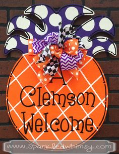 A Clemson Welcome Door Hanger Sign by SparkledWhimsy on Etsy