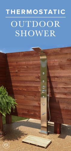 Bring the spa to your backyard with this sleek stainless steel outdoor shower. The rainfall shower head and waterfall spout make for a high-end, spa-like experience that you won't want to miss.