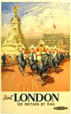Vintage travel poster issued in 1953 to celebrate the Coronation of Queen Elizabeth II. Features the Household Cavalry on parade in front of Buckingham Palace.