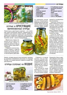 Russian Recipes, Pickles, Cucumber, Food And Drink, Cooking Recipes, Salad, Canning, Healthy Eating, Easy Meals