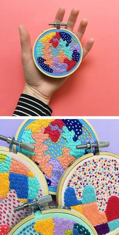 Colorful contemporary embroidery by Kelly Ryan Contemporary Embroidery, Modern Embroidery, Embroidery Thread, Cross Stitch Embroidery, Embroidery Patterns, Design Textile, Art Textile, Textiles, Diy Embroidery Projects