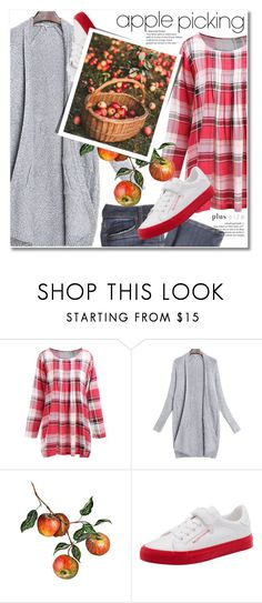 """""""Harvest Time: Apple Picking"""" by svijetlana ❤ liked on Polyvore featuring cardigan, plussize, applepicking and plaidblouse"""