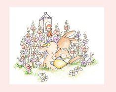 Stampa artistica di bambini. Lettura nei fiori. di LoxlyHollow