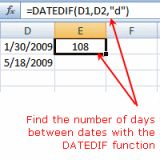 Which Excel Function Calculates the Number of Days Between Dates?: Calculate the Number of Days Between Dates