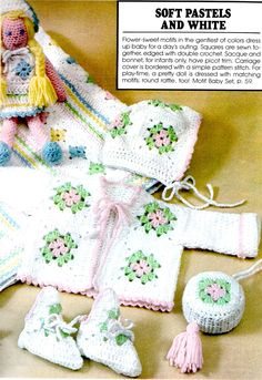 granny+square+baby+hat | Crochet Pattern Granny Square Baby Blanket, Sweater, Hat, Booties ...