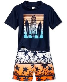 Oshkosh B'Gosh 2-Pc. Surfboard Rashguard & Swim Trunks Set, Toddler & Little Boys (2T-7) - Orange 7